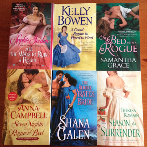 September contest prize: six historical romances with rogue heroes.
